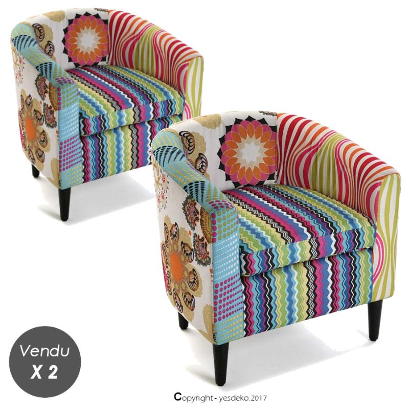 Ensemble 2 fauteuils patchwork Julia fuchsia