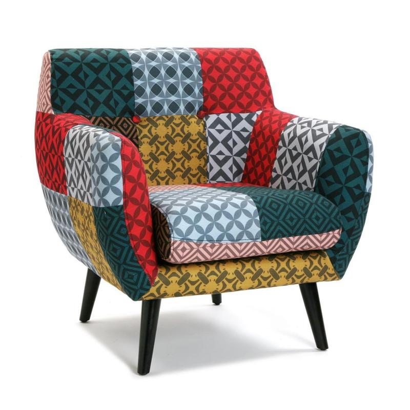 Fauteuil patchwork Laura multicolore